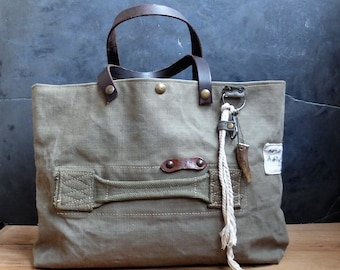 Recycled military canvas bag, antique French military bag French military
