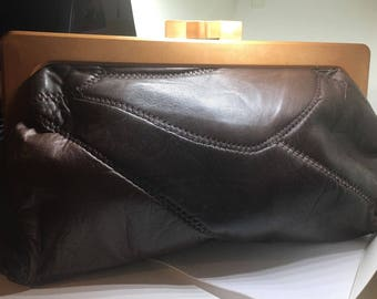 """Vintage 1970's Butter Soft Leather Exposed Seams Clutch Bag """"70s Sophistication"""""""