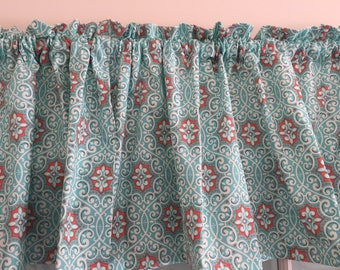Turquoise and Coral Kitchen Valance ~ 42 Inches Wide ~ Kitchen Window