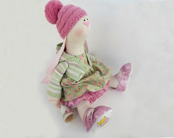 Rabbit art doll Becky bunny doll OOAK Stuffed animal bunny toy Unique Tilda Cloth doll Green gift Soft toy Collectible home decor 18''46cm