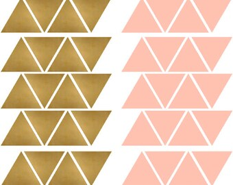Pink and gold triangle stickers adhesive sticker on the wall, door, Chair ect set of 30 or 72 pieces