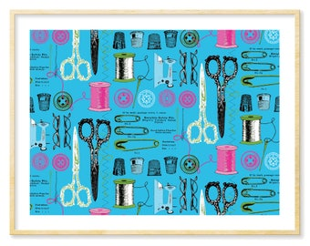 Craft Room Wall Art, Illustration Prints, Whimsical Art, Blue Art, Teal and Pink, Wall Art, Gift for Crafter, 8.5 x 11 Print, Vintage Motifs