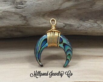 Horn Pendant, Crescent Moon Pendant, Abalone Shell pendant, Necklace Pendant, Gold Colored Wire Wrapped Pendant, Abalone Pendant