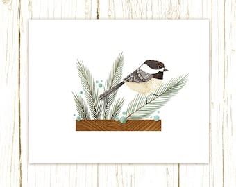 Chickadee Print -- bird art -- bird art 52 birds stephanie fizer coleman illustration