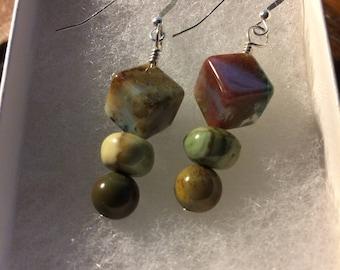 Stacking Stones Serenity Sterling & Stone Earrings - OOAK by Robin Foster, FosterFire