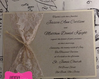 RUSTIC LACE INVITATIONS with Twine or Ribbon- Customize for Weddings, Showers, Birthdays, Bat Mitzvahs, Sweet 16s and more