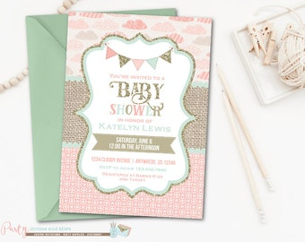 Pink Mint and Gold Baby Shower Invitation, Glitter Baby Shower Invitation, Burlap Baby Shower Invitation, Pink and Mint, Pink and Gold