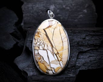 Flawless Artwork Brecciated Agate Pendant | Sterling Silver Pendant | Large Masterpiece Oval Genuine Natural Agate Gemstone Jewelry