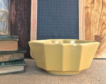 Yellow/Gold uniquely shaped small/low Planter or Flower pot- retro/vintage