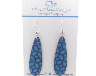 Blue Flower Earrings, Blue Enamel Earrings, Handmade Jewelry, Glass Earrings, Blue Glass, Dangle Earrings, Boho Earrings
