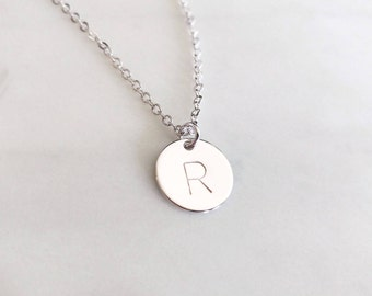 Personalized Dainty Silver Hand Stamped Initial Disc Necklace, Custom Letter Coin, Family Tree Necklace, Monogram Charm, Bridesmaid Gift
