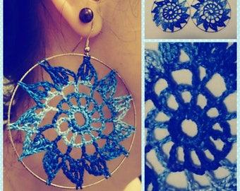 Earrings made of cotton, crochet technique