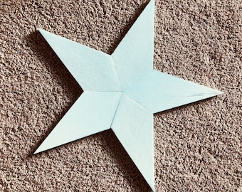 Pale blue-green painted reclaimed wood star