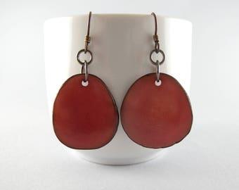 Mauve Tagua Nut Eco Friendly Yoga Accessories Earrings with Free USA Shipping #taguanut #ecofriendlyjewelry