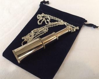 "Chrome Finish Brass Pocket Telescope Necklace w/ 27"" Chain & Velour Bag - Mini Hand Held Pirate Spyglass - Nautical Maritime Monocular"