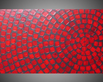 """Acrylic painting wall art Abstract painting wall decor red and grey painting on canvas large painting abstract art 48"""" Made2Order by ilonka"""