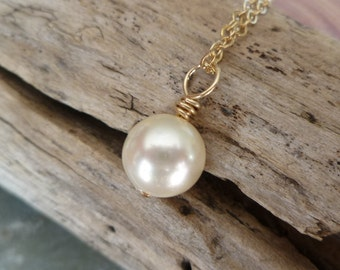 Simple Basic Single Pearl Necklace - 6mm, 8mm or 10mm - Sterling or Gold Filled - Bridesmaid or Hostess Gift