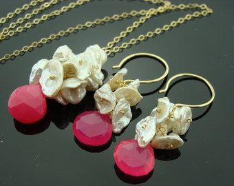Keshi Pearl 14K Gold Filled Gemstone Earrings and Necklace Set