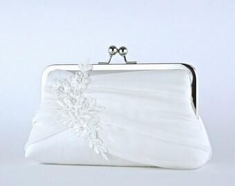 Bridal clutch, Lace Applique Chiffon Silk Clutch, wedding clutch, wedding bag, Purse for wedding