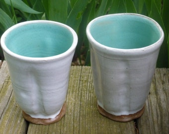 Summery Pottery Tumbler, Party Tumblers, Organic Pottery Cup, Handless Pottery Mug, White, Green @H