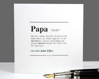 Personalised Card|Papa Definition Card|Card for Dad|Birthday Card for Dad|Card for Him|Fathers Day Card|funny card