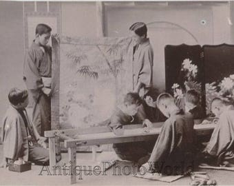 Japan boys workers silk weavers antique photo