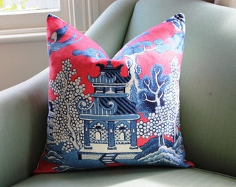 Lee Jofa Willow Pattern Chinoiserie Pillow Cover
