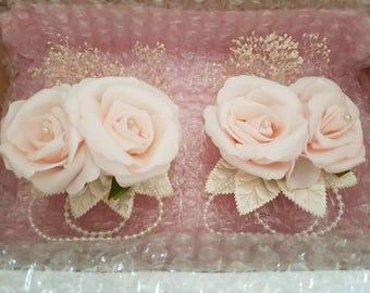 Wedding Prom wrist corsage & hair piece set - any colour