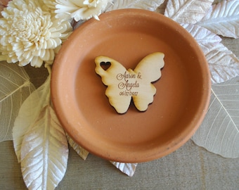 Wood Butterfly Wedding Favors 110 pieces personalized Butterflies