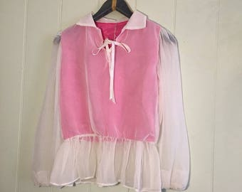 Vintage handmade sheer ruffled sleeve blouse
