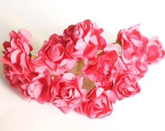 Bridal Hair Accessories,  Pink Rose,  Pink flower Hair Bobby Pin- set 12
