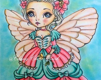 Marie Antoinette dollie - Digital Stamp Instant Download /  Cute Victorian Rose Fairy Doll by Ching-Chou Kuik