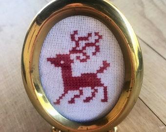 Primitive Cross Stitched Reindeer in Mini Vintage Gold Frame