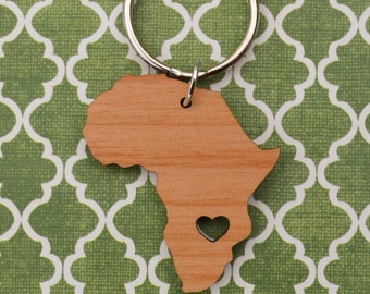 Zambia Love Wood Key Ring