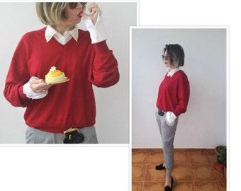 80s Sweater Chunky Sweater Merino Wool Sweater Christmas Jumper French Workwear Grunge Sweater Cropped Sweater Oversized Sweater Knitwear