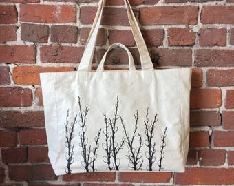 Pussy Willows - Weekender Bag - Zipper Closure Tote in Natural Canvas