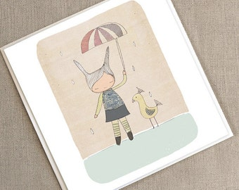 """Greeting Card -Honeycup Bunny Rabbit and Mr Bird  -  5.9 x 5.9 """" or 150x150 mm"""