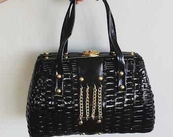 "RARE vintage purse. 1960s 60s plastic ""wicker"" purse with chains. Mid century handbag. Black purse. Mod bag."