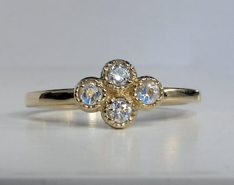 14k Gold Wedding Ring, Diamond and Faceted Moonstone, 4 Stone Mothers Ring