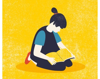 Reading girl Yellow Print, reading kid, book and child, girl and book