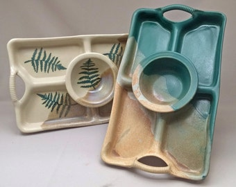 Four Section Dip Tray  by  Stegall's Stoneware Pottery