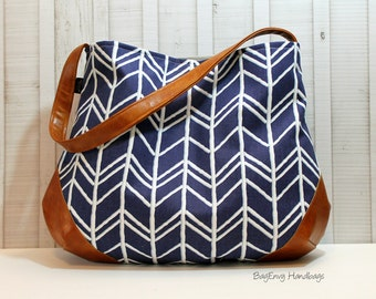 The Snoho Slouch Bag - Navy Herringbone with Vegan Leather