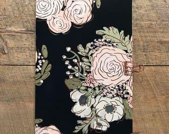 Black Floral Travelers Notebook Insert - Midori Insert - TN Insert - Black Floral Notebok - Planning Insert - Scrapbook Insert-Various Sizes