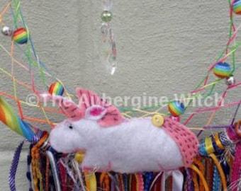 Unicorns & Rainbows OOAK Dreamcatcher