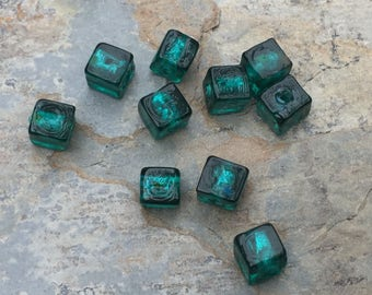 Teal Green Cube Beads, Small Glass Cube Beads, 6mm, 10 beads per package