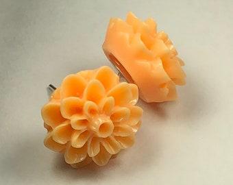 Peach Dahlia Earrings, Stud Earrings, Flower Studs, Floral Earrings