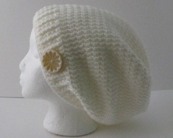 Womens Crochet Slouchy Hat, Womens Slouchy Beanie Hat, Cream White Slouchy Hat, Off White Crochet Hat, Oversized Slouchy, Slouchy Beanie