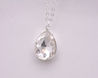 Crystal Teardrop Necklace, Rhinestone Teardrop Necklace, Crystal Wedding Necklace, Rhinestone Bridal Necklace, Rhinestone Pendant 0256