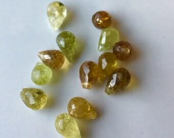 Green Garnet Briolettes, Destashed Briolettes, Green Beads, Teardrop Beads, Loose Beads, Etsy, Etsy Jewelry