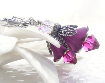Purple and Silver Lucite and Swarovski Bell Flower Earrings